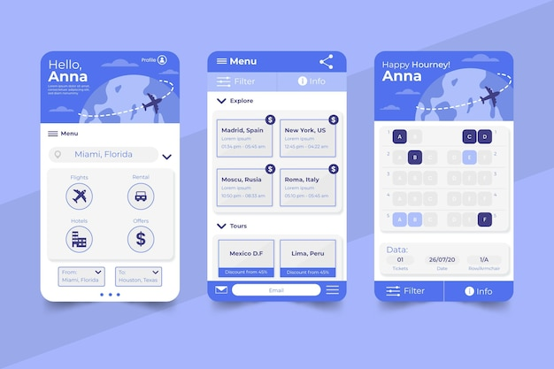 Travel booking app concept Free Vector