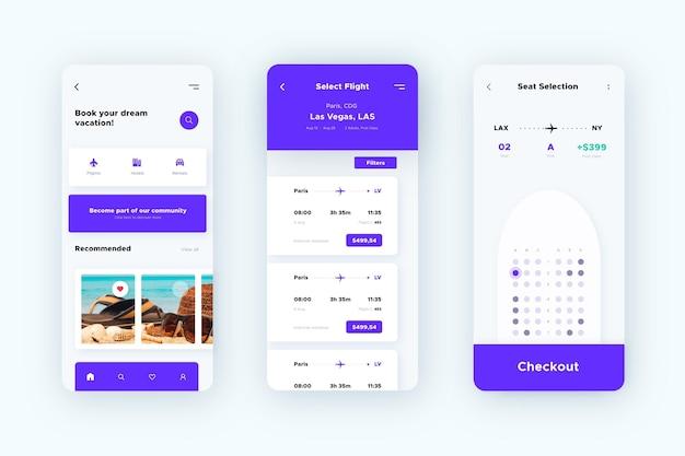 旅行予約アプリのインターフェーステンプレート 無料ベクター