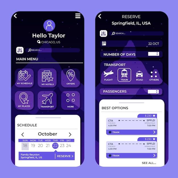 旅行予約アプリのインターフェース 無料ベクター