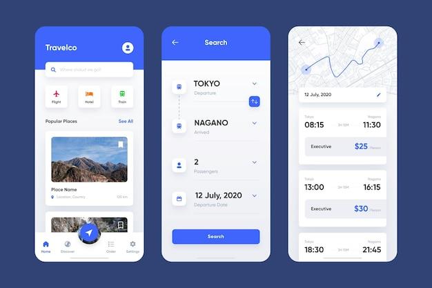 Pacchetto app di prenotazione viaggi Vettore gratuito