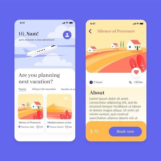 Schermate dell'app per la prenotazione di viaggi impostate Vettore gratuito