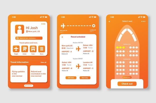 旅行予約アプリの画面 無料ベクター