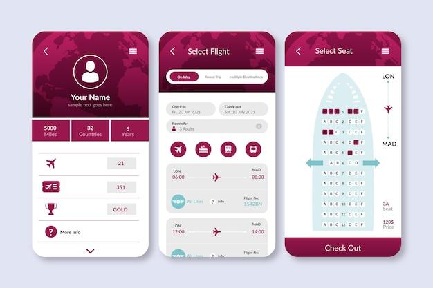 シンプルなインターフェースを備えた旅行予約アプリ 無料ベクター