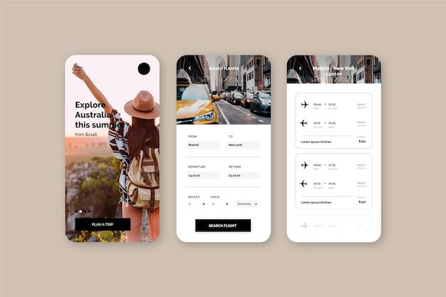 観光客の女性と旅行予約アプリ 無料ベクター