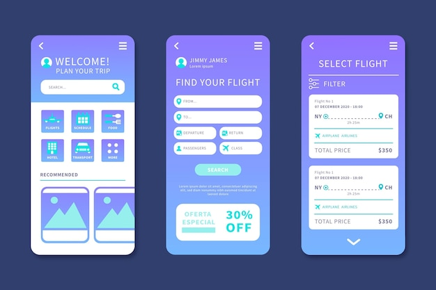 Travel booking app Free Vector