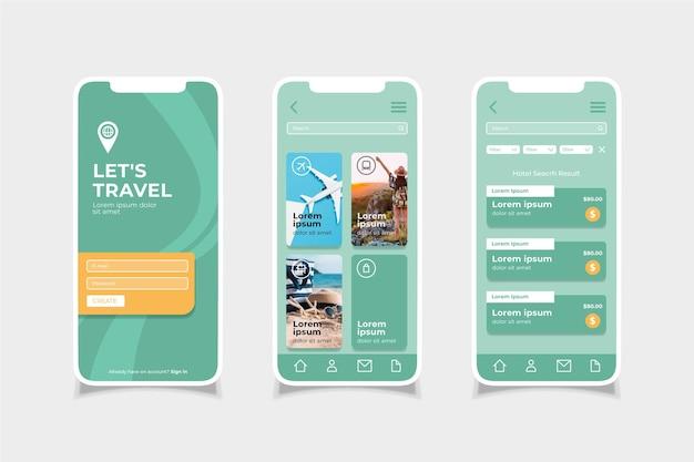 Travel booking app Premium Vector