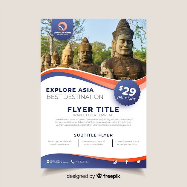 Travel brochure template with photo Free Vector