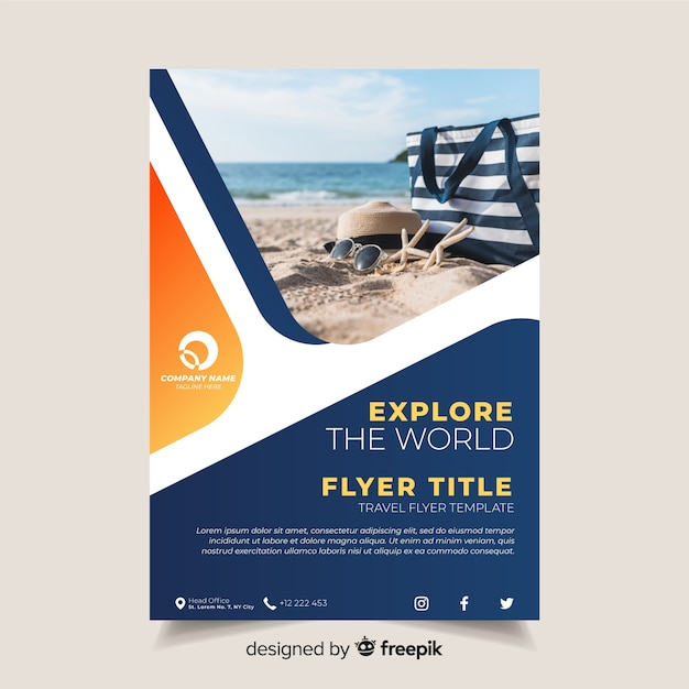 Travel Brochure Template With Photo Vector Free Download