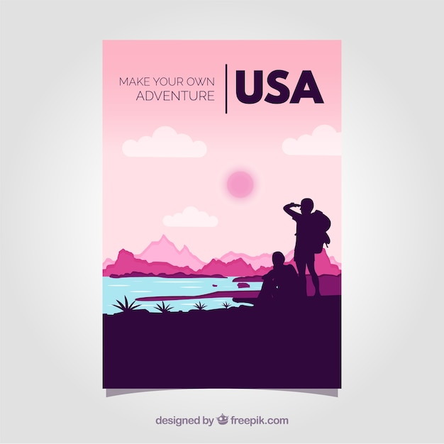 Travel brochures with silhouettes Free Vector