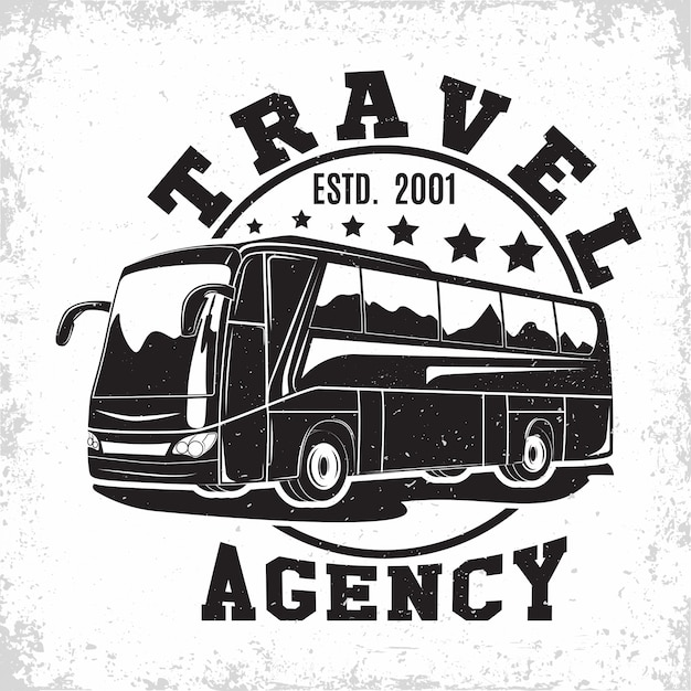 Travel bus vintage emblem Premium Vector