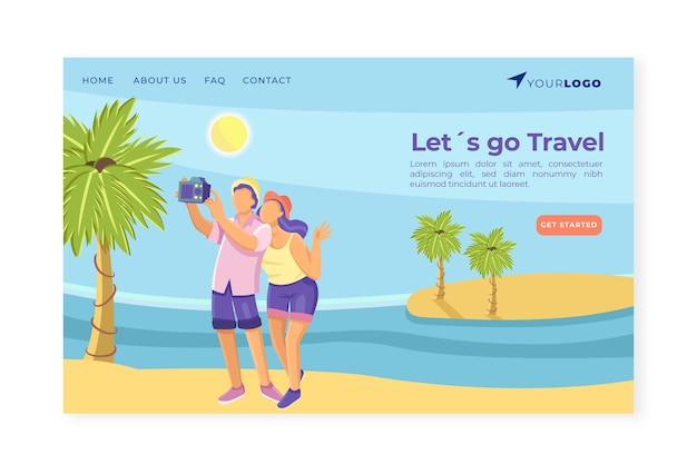 Travel business landing page template Free Vector
