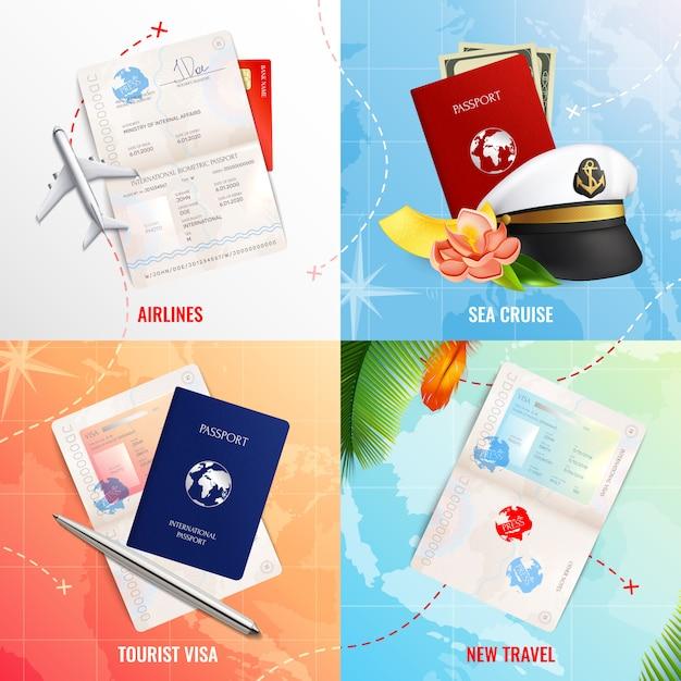 バイオメトリックパスポートモックアップとビザスタンプ現実的なアイコンと空と海2 x 2広告デザインコンセプトで旅行します。 無料ベクター