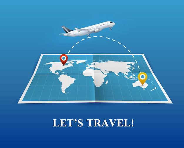 Travel by airplane realistic composition Free Vector