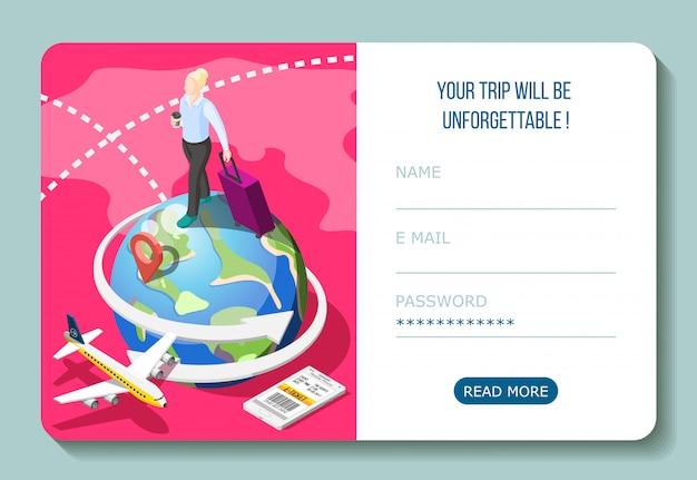 ユーザーアカウントインターフェイスを備えたスマートフォン等尺性構成の電子チケットで飛行機で旅行する 無料ベクター