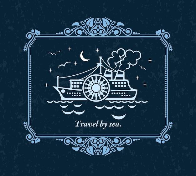 Путешествие по морю, старинные украшения открытки. Premium векторы