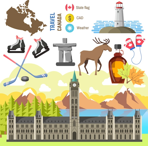 Travel canada traditional objects collection Premium Vector