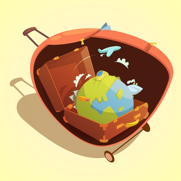 Travel cartoon concept with globe in a suitcase on yellow background vector illustration Free Vector