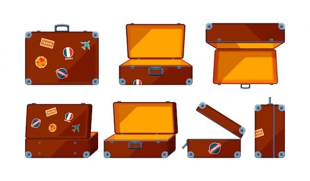 Travel case.  various views of travel case Premium Vector