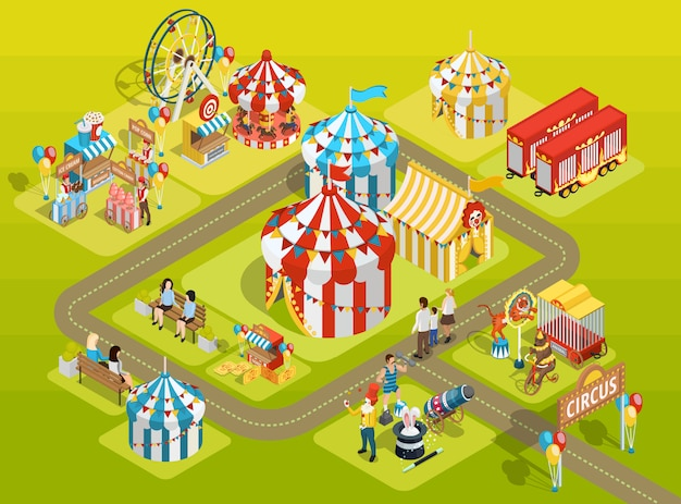 Travel circus fairground isometric layout poster Free Vector
