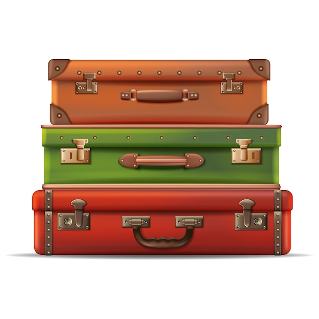 Travel collection of suitcases stacked on top of each other in leather isolated on white background Free Vector