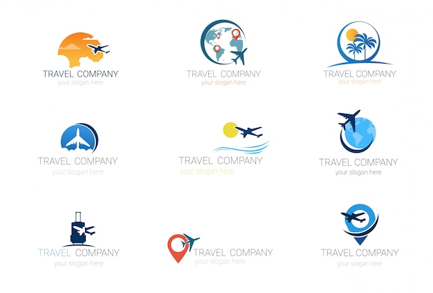 Travel company logos set template tourism agency collection Premium Vector