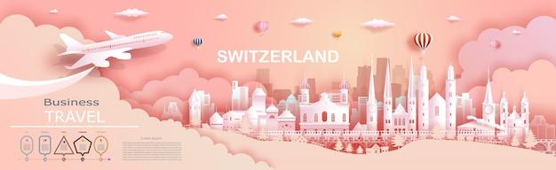 Туристическая компания в швейцарии, ведущие всемирно известные дворцы и замки. тур цюрих, женева, люцерн, интерлакен, достопримечательность европы с вырезкой из бумаги. дизайн бизнес-брошюры для рекламы. Premium векторы