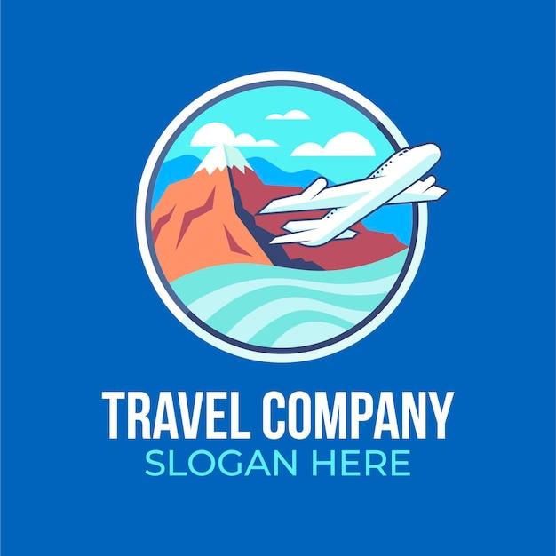 飛行機のロゴが入った旅行会社 無料ベクター
