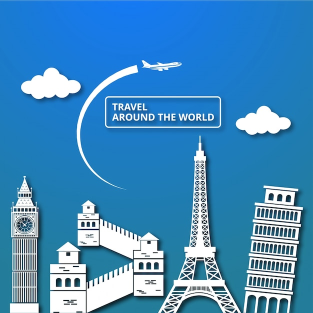 Travel composition with famous world landmarks around the world Free Vector