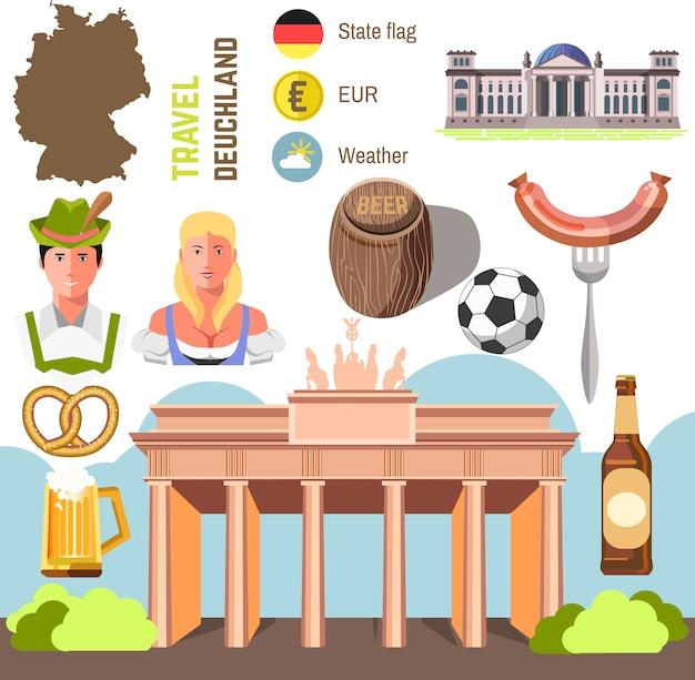 Концепция путешествия германия ориентир плоский дизайн иконок. Premium векторы