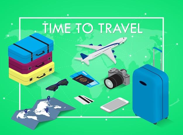 アイソメ図スタイルの旅行の概念旅行する時間。パスポート、チケット、バッグ、飛行機。旅行用具。 Premiumベクター