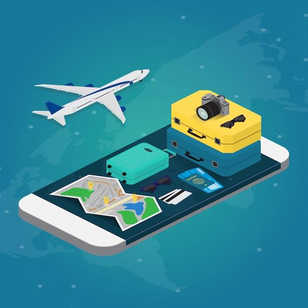 Travel concept in isometric illustration Premium Vector