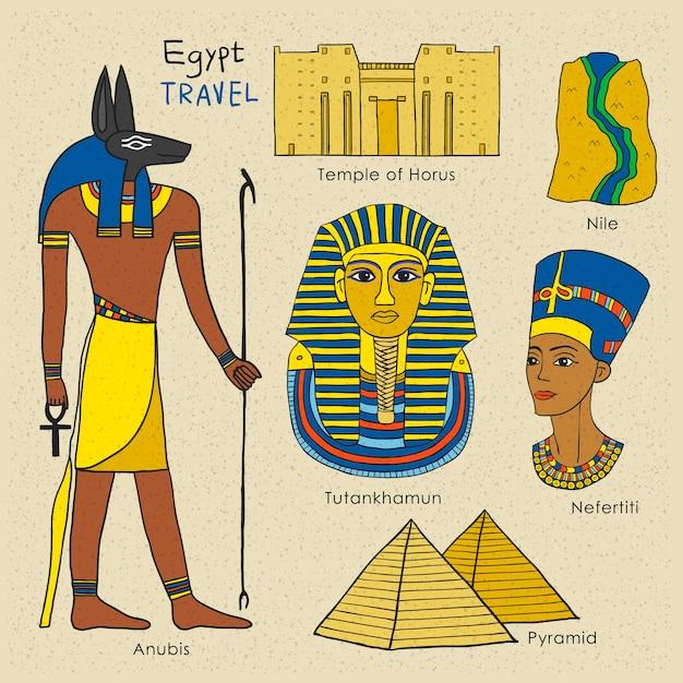 Концепция путешествия египта в стильном стиле рисованной Premium векторы