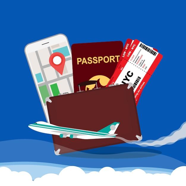Travel concept vector illustration background Premium Vector