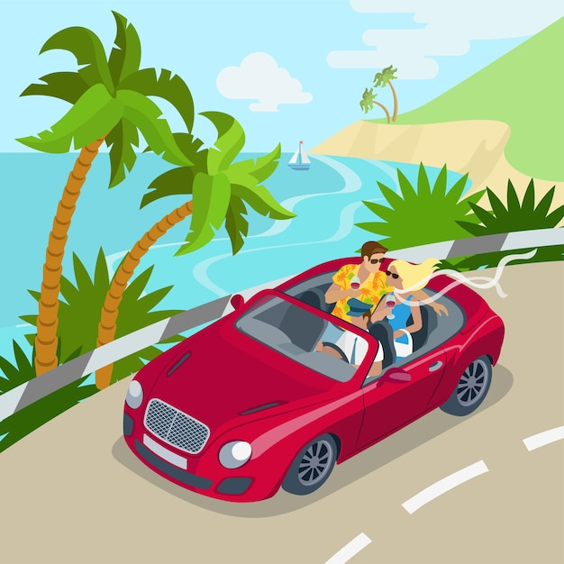 Travel couple cabrio car flat 3d web Free Vector