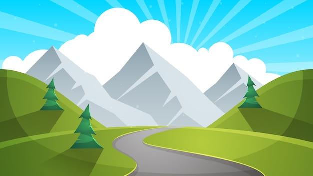 Travel day cartoon landscapen. mountain, fir, road ...
