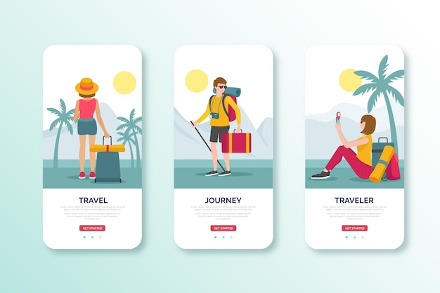 Travel in daylight mobile interface design Free Vector