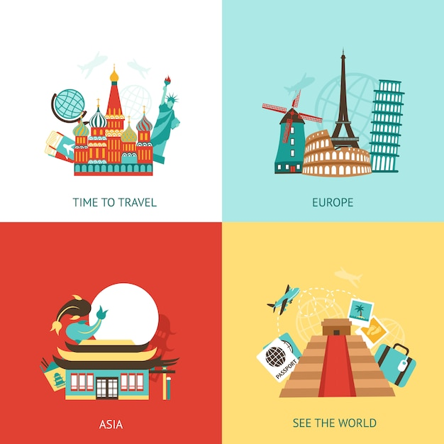 Travel design concept Free Vector