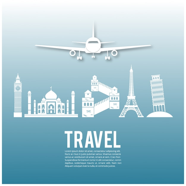 Travel design with plane and landmarks Free Vector
