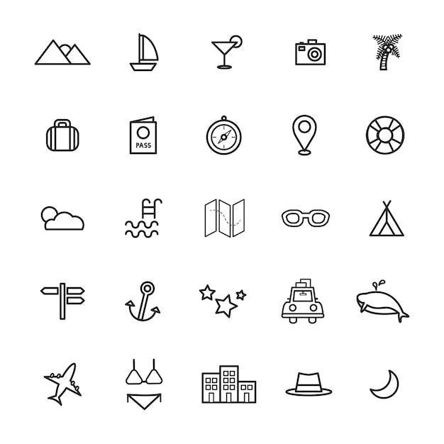 Travel destination icon vectors illustration concept Free Vector