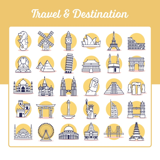 Travel and destination icons set with outline style Premium Vector