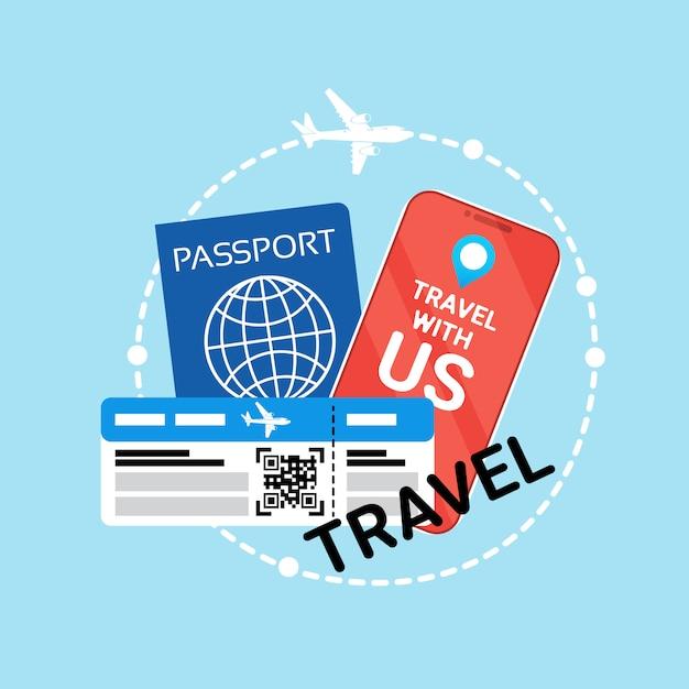 Travel documents id passport and ticket on plane Premium Vector
