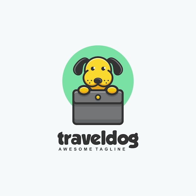 Travel dog concept illustration vector template Premium Vector