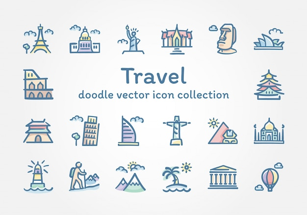 Travel doodle vector icon collection Premium Vector