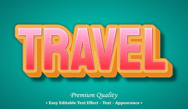 Travel  editable text style effect Premium Vector