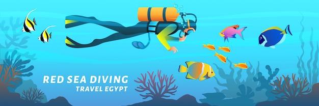 旅行エジプト漫画バナー。紅海ダイビングポスター。サンゴ礁の魚、フラットスタイルのイラストの中で水中を泳ぐスキューバダイバー Premiumベクター