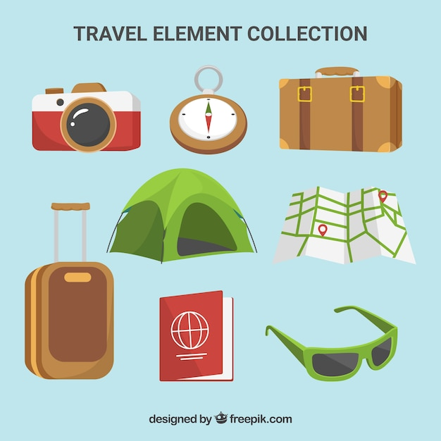 Travel element collection with flat design Free Vector