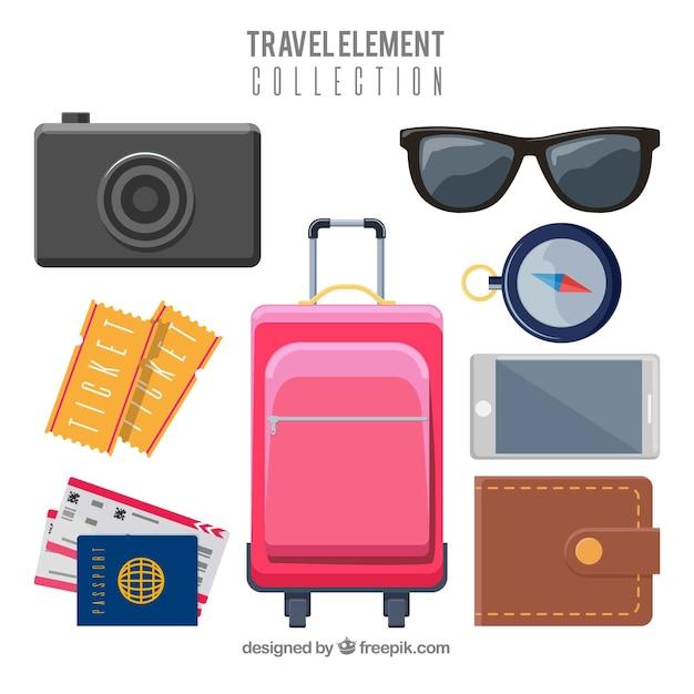 Collezione di elementi da viaggio con design piatto Vettore gratuito