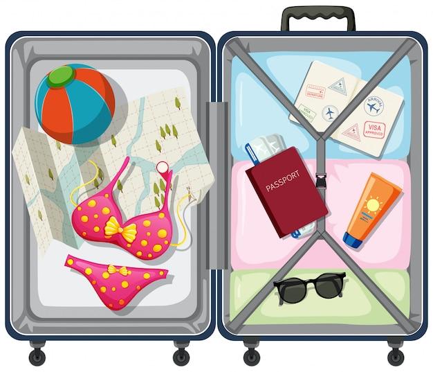 Travel element in the luggage Free Vector