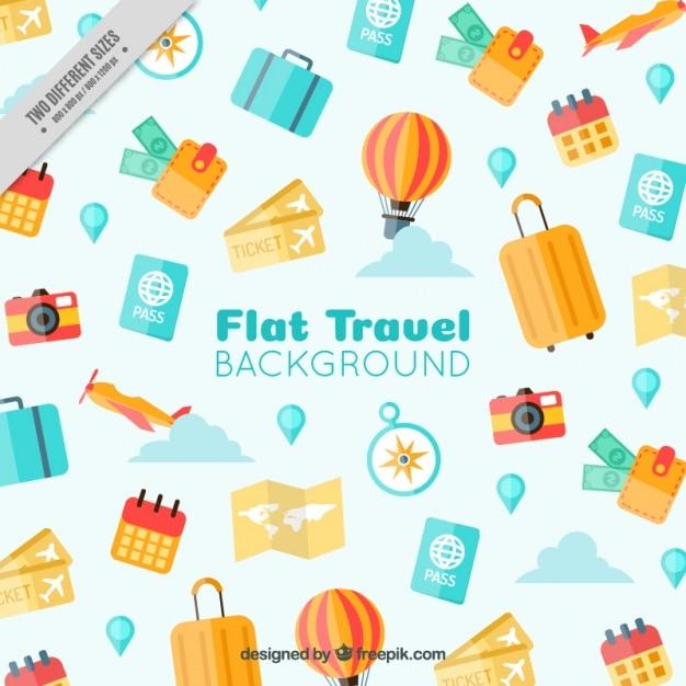 Travel elements background in flat design Premium Vector