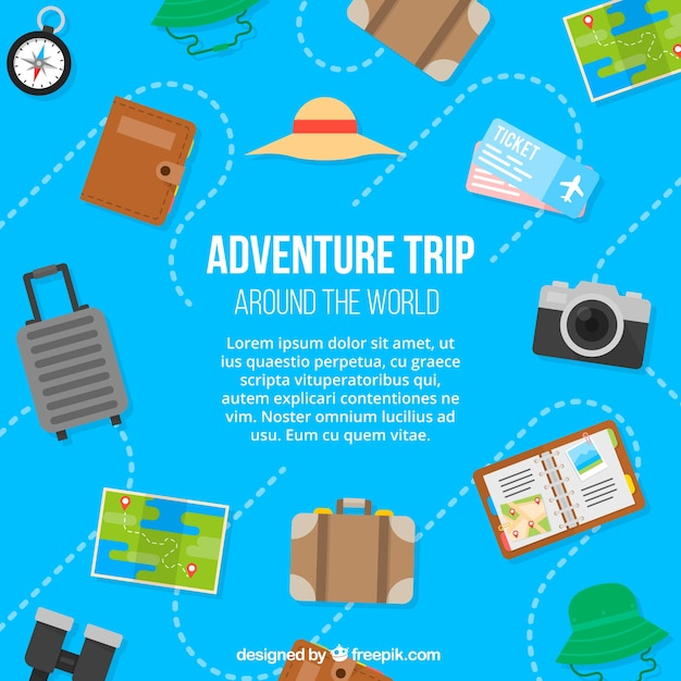 Travel elements background in flat style Free Vector
